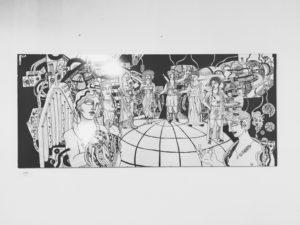 Eine Zeichnung mit futuristischen Motiven von Menschen und Maschinen