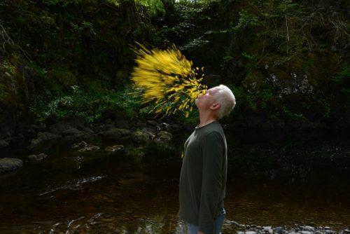 Filmstill wie der Künstler gelbe Blütenblätter in den Wind bläst