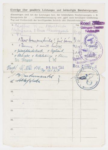 Historisches Dokument mit Einträgen über gewährte Leistungen und behändigte Bescheinigungen