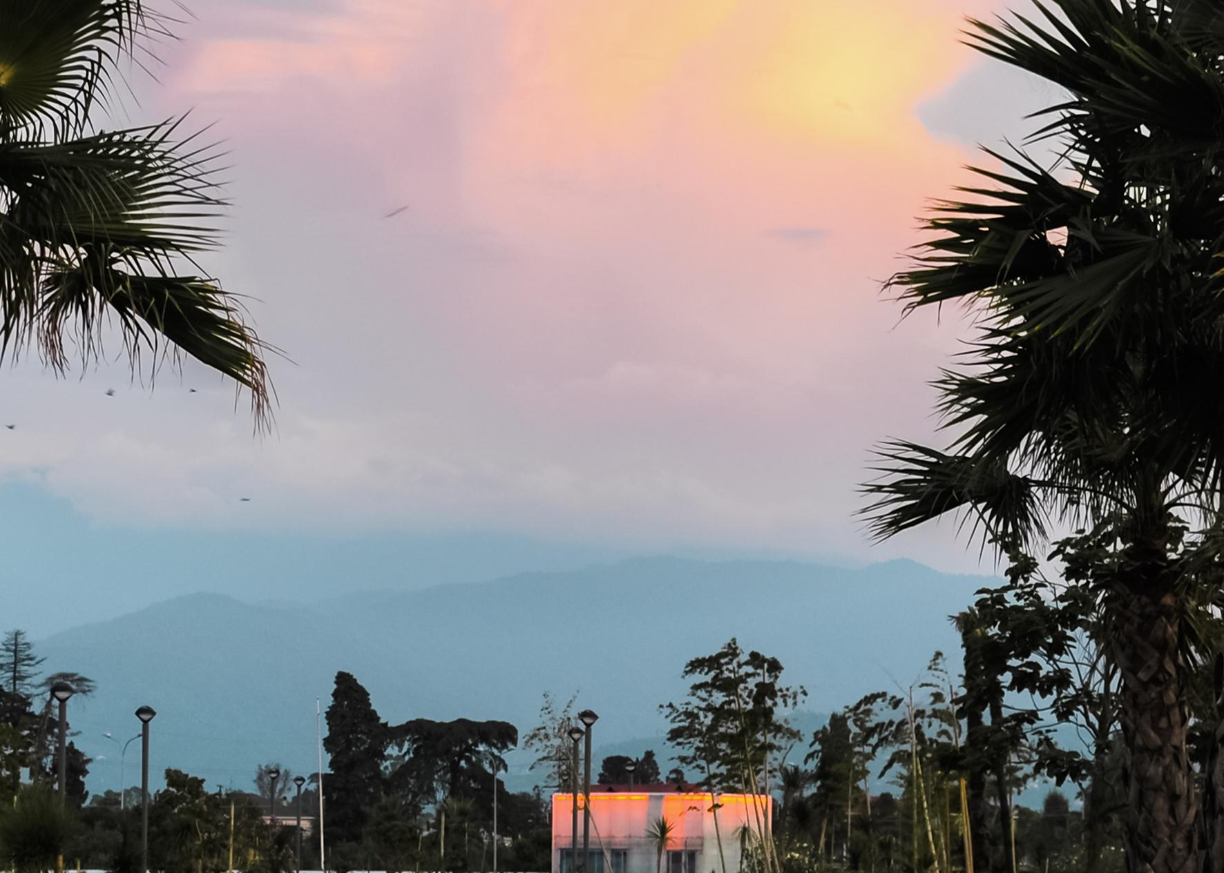 Fotografie einer Landschaft. Im Vordergrund begrenzen rechts und links Palmen den Bildausschnitt. Im Mittelgrund steht ein kleines weißes Haus dessen unterer Bereich vom Bildrand abgeschnitten wird. Darum stehen Straßenlaternen und Bäume. Im Hintergrund erhebt sich im Dunst und Nebel ein hoher Berg