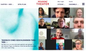 Screenshot des Internetauftritts des Residenztheaters.