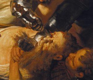 Dieses Bild ist ein Ausschnitt des Gesamtgemäldes. Hierauf wird das Stechen in den linken Augapfel des von den Soldaten festgehalteten Mannes expliziter gezeigt. Aus dem oberen Bildrand ragt der Arm des Soldaten hervor, der sich in einer Rüstung befindet. Das Masser, welches dieser festhält, ist gerade ins Auge eingedrungen, und Blut beginnt aus dem Auge zu laufen. Der Gesichtsaudruck des Mannes ist von Schmerz gekennzeichnet und seine Haut wirkt eher gelblich. Auchd er Soldat, der ihn von unten am Boden hält ist in diesem Ausschnitt. Sein Gesicht ist nicht klar erkennbar, da er gerade auf das über ihm stattfindende Geschehen fixiert ist.