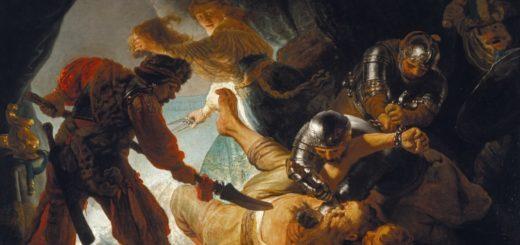 Auf dem Bild ist eine grausame Szene zu erkennen, die sich im Innereren einer Höhle abspielt. Ein weißer Mann, der sich in der Bildmitte befindet, wird von drei Soldaten, die um ihn herum stehen, am Boden gehalten. Ganz links steht ein weiterer der ihn mti einer langen Lanze bedroht. Einer der Soldaten liegt unter dem Mann in der Bildmitte und hält ihn so am Boden. Ein weiterer liegt über ihm, und ist gerade dabei ihm mit einem spitzen Gegenstand in den Augapfel zu stechen. Direkt über diesem ist ein weiterer Soldat, der die Hände des Mannes mit Ketten gefesselt hält. Am rechten, mittigen Bildrand wird ebenfalls ein Soldat sichtbar, der aus dem Bildrand hervorkommt und ein Schwert im gestreckten Arm hält, so als ob er bereit wäre seinen Gegner zu attackieren. Hinter dieser gewalttätigen Szene, erscheint eine weitere Person, die im Gegensatz zum restlichen Bild das eher in Dunkelheit getaucht ist, sehr hell erscheint. Die Person scheint durch die ihr gegeben Attribute eine Frau zu sein. Sie trägt eine weißen Bluse, einem hellblauen mit einem Gürtel taillierten Rock.und hat blondes Haar, welches mit einer Mütze bedeckt ist. Sie hält in ihrer linken Hand ein Haarbüschel in der Hand, welches vielleicht dem drangsalierten Mann in der Mitte gehören könnte. In der rechten trägt sie eine silberne Schere, mit der sie die Haare abgeschnitten hat. Sie ist darüber hinaus die einzige im Gemälde, die die Betrachter*innen direkt anschaut, gleichzeitig auch die einzige die wirkt, als ob sie diese Szene gleich verlassen möchte. Sie ist nämlich auf dem Weg aus der Höhle heraus.
