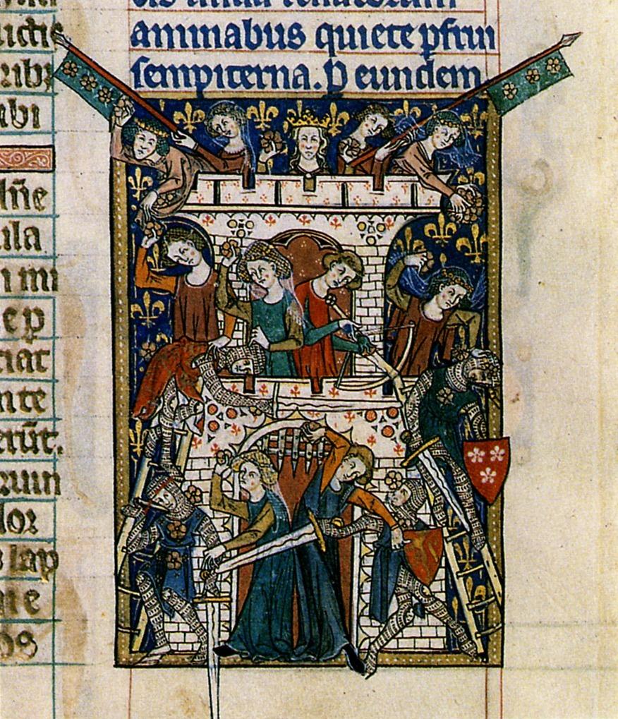 die farbige mittelalterliche Buchmalerei zeigt di Erstürmung der Liebesburg.  Die Frauen wehren mit Wafefn und Schwertern die eindringenden Ritter ab.