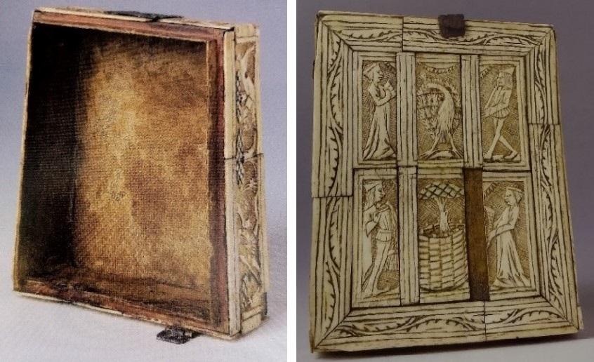 Zu sehen sind zwei Abbildungen. Die linke zeigt den  mit Leinen bezogenen Innenraum des Kästchens, die rechte zeigt die Oberseite in Frontalansicht. Das Feld ist in sechs Felder unterteilt, die Szenen des Werbens zeigen. Sie werden von einer schlichten Rahmung umrundet.