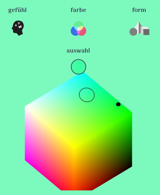 Ein erster Blick auf das Audiovis I\O Interface mit dem RGB-Cube zur Farbauswahlhilfe. Die genaue Gestaltung kann sich im Entwicklunsgprozess noch ändern.