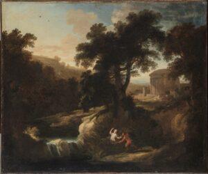 Abb. 1: Pierre-Antoine Patel (Paris 1648 - 1708 Paris): Pan und Syrinx, Öl auf Leinwand, 51 x 61,8 cm (Bild), Inv. Nr.: FB 2, © Hamburger Kunsthalle / bpk Foto: Christoph Irrgang