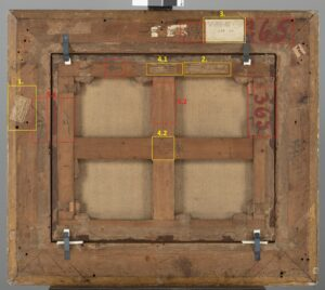 Abb. 1: Rückseite von Pierre-Antoine Patel (Paris 1648 - 1708 Paris): Pan und Syrinx, Öl auf Leinwand, 51 x 61,8 cm (Bild), Inv. Nr.: FB 2, © Hamburger Kunsthalle / bpk Foto: Christoph Irrgang