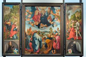 Altar-Triptychon mit Darstellung Mariä auf dem mittleren Tableau. Auf dem linken Flügel ist Jakob Heller knieend in der unteren Ecke zu erkennen, spiegelsymmetrisch dazu in der unteren Ecke des rechten Flügels seine Ehefrau.