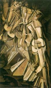 Auf dem rechteckigen Gemälde ist der Bewegungsablauf einer die Treppe hinuntergehenden Person dargestellt.