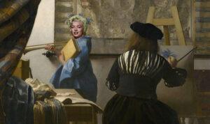 """Marilyn Monroe wurde durch Photoshop in Jan Vermeer Bild """"Die Malkunst"""" eingefügt"""