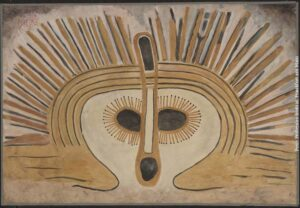 Beige-braune Maske mit abstehenden Federn