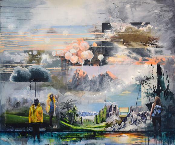 Buntes Gemälde mit Überlagerungen, die eine fast unrealistische Landschaft entwerfen.Die Farben geben eine Stimmung nach dem Regen wider.